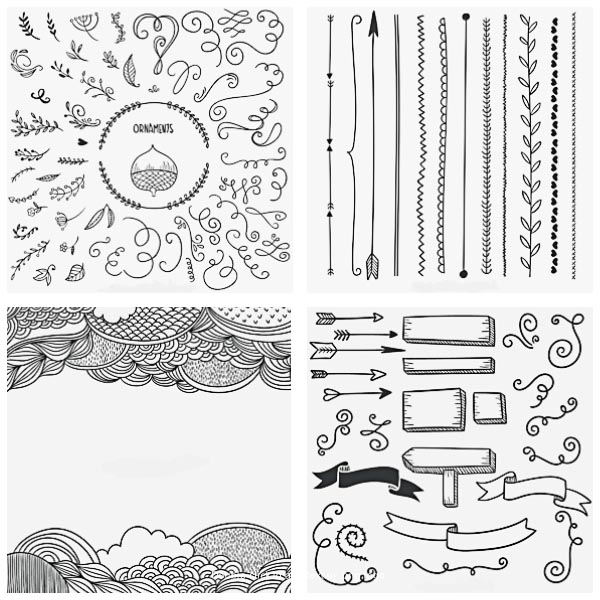 Calligraphic arrows and ornaments decorative set vector