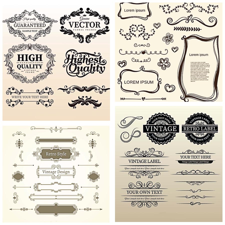 Vintage calligraphic ornaments frames and borders set vector