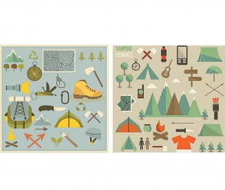 Hiking and camping elements mountains set vector