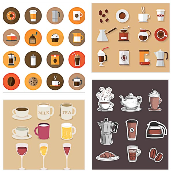 Coffee icons beverages and cups set vector