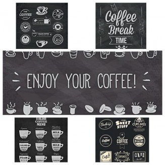 Coffee shop logo and posters set vector