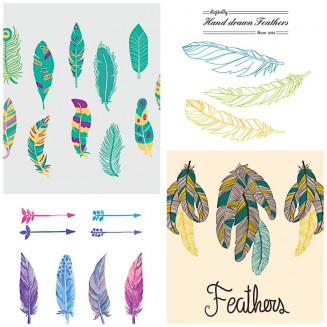 Hand drawl watercolor feathers set vector