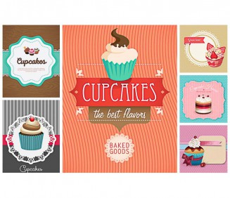 Cute posters and cards with cupcake pastry set vector