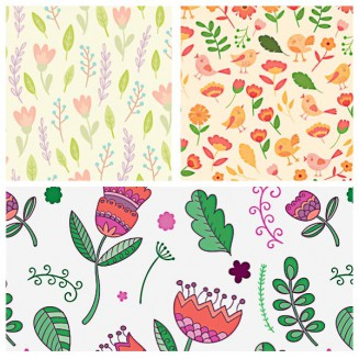 Seamless floral pattern with cute birds set vector