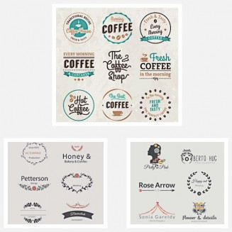 Cute girly logotypes brand set vector