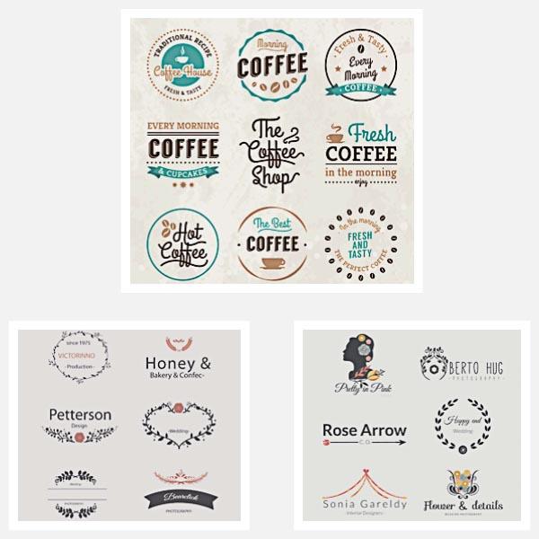 Cute girly logotypes brand set vector