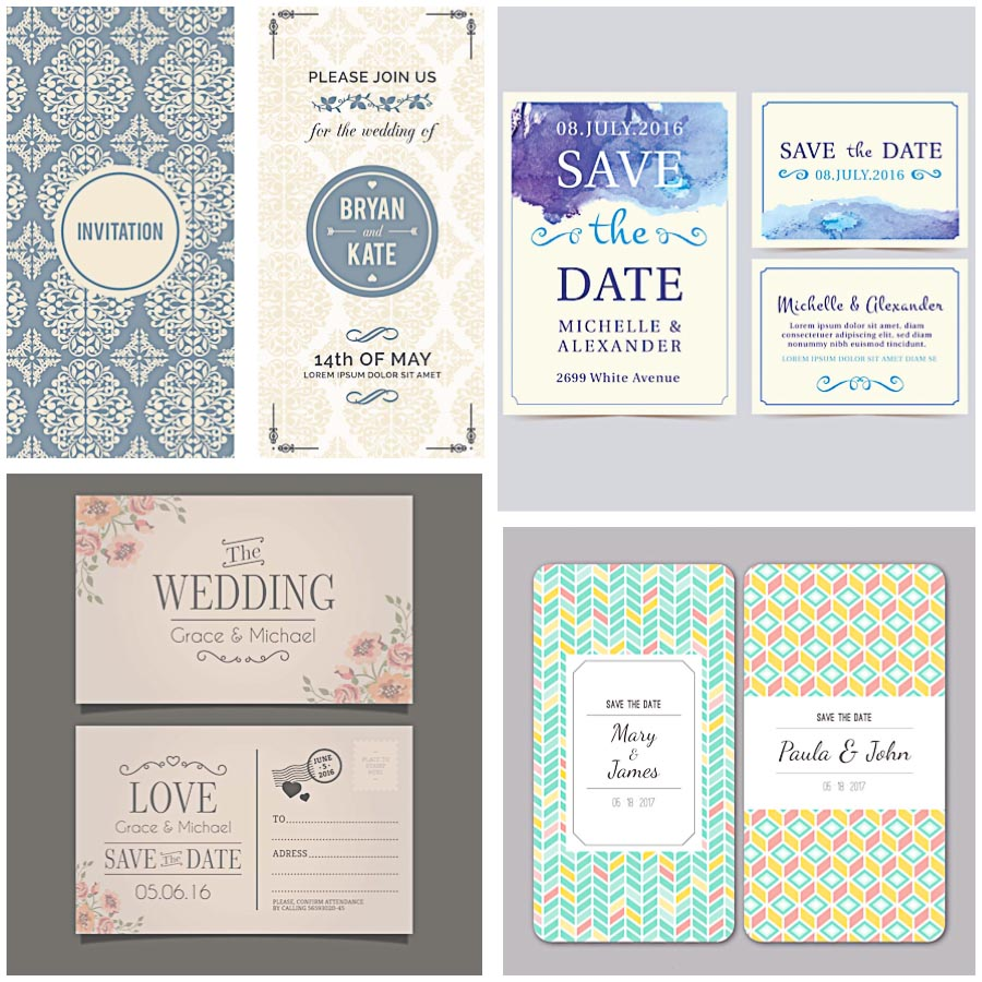 Save the date card elegant set vector