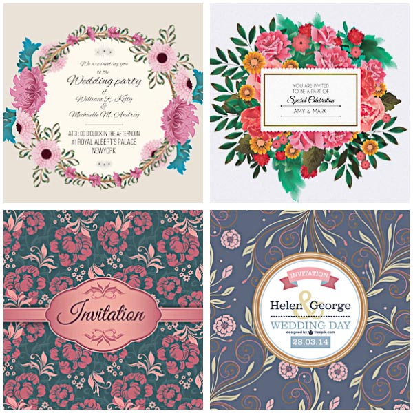 Elegant floral wedding invitation cards set vector