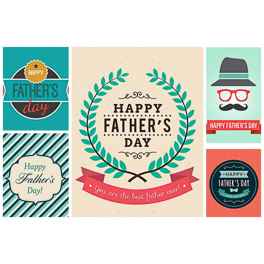 Fathers day postcard hipster set vector