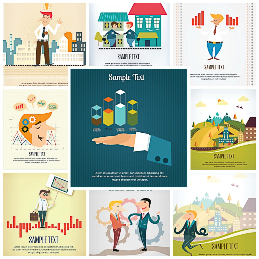 Cartoon flat images with business characters set vector