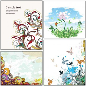 Floral swirls backgrounds butterflies set vector