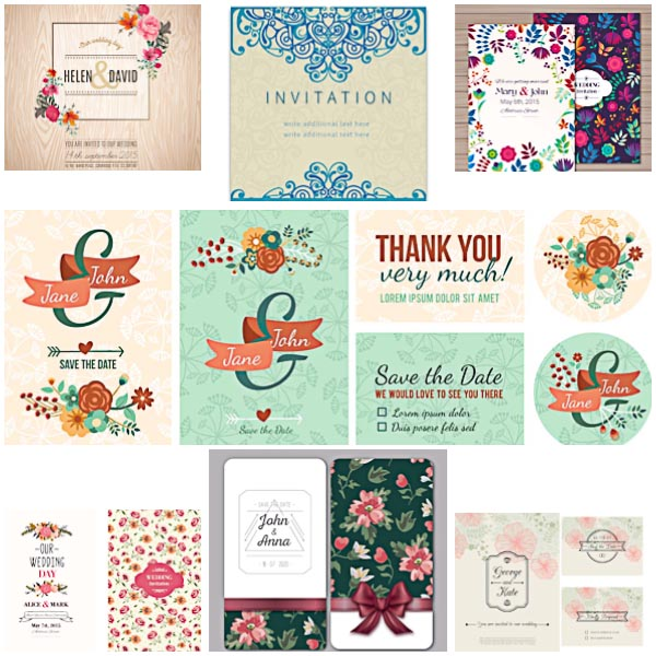 Modern floral wedding invitations and cards set vector