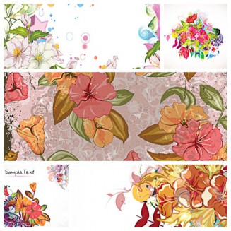 Floral backgrounds retro pattern set vector