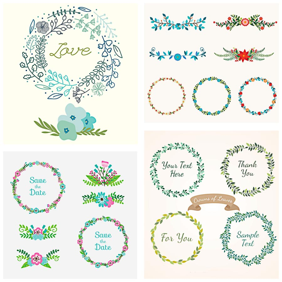 Wedding decoration floral laurel set vector