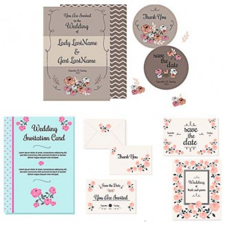 Wedding invitations and badges with flowers set vector