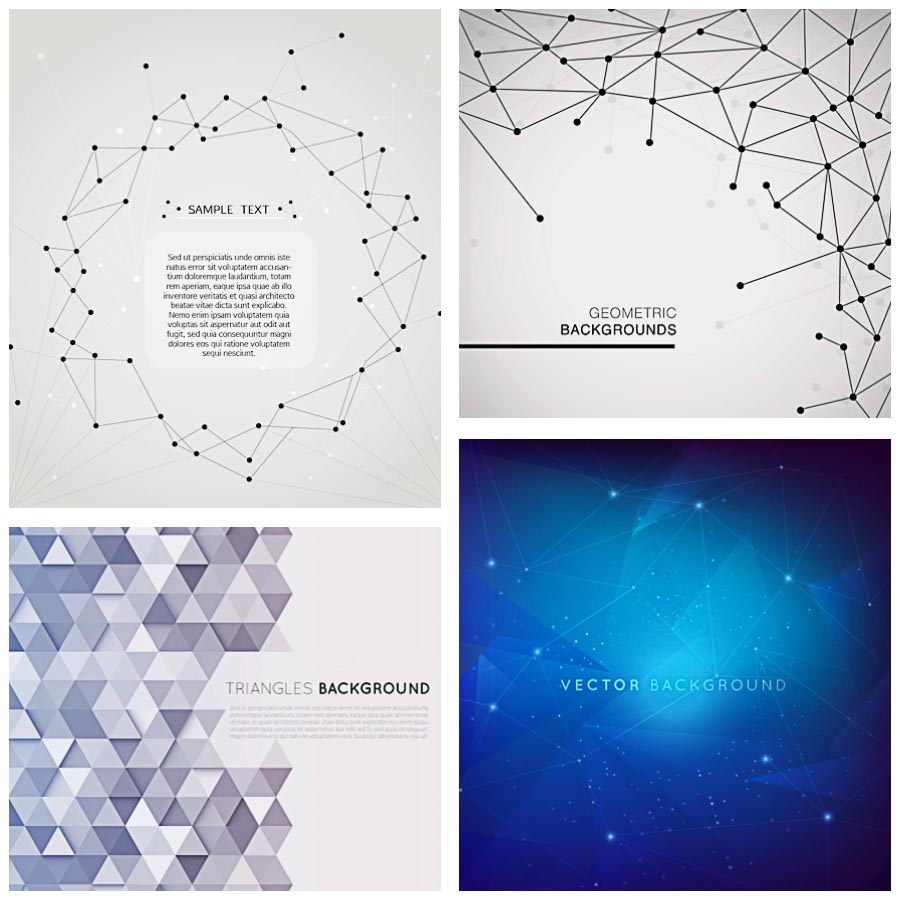 Geometric template modern background set vector