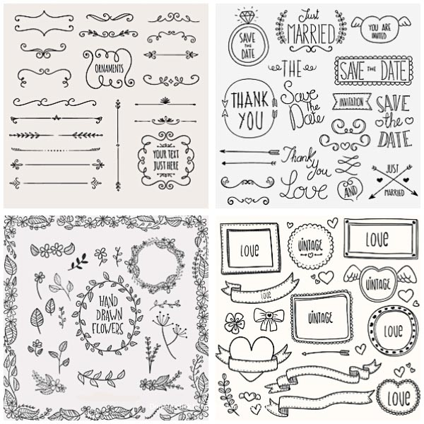 Calligraphic ornaments and borders set vector