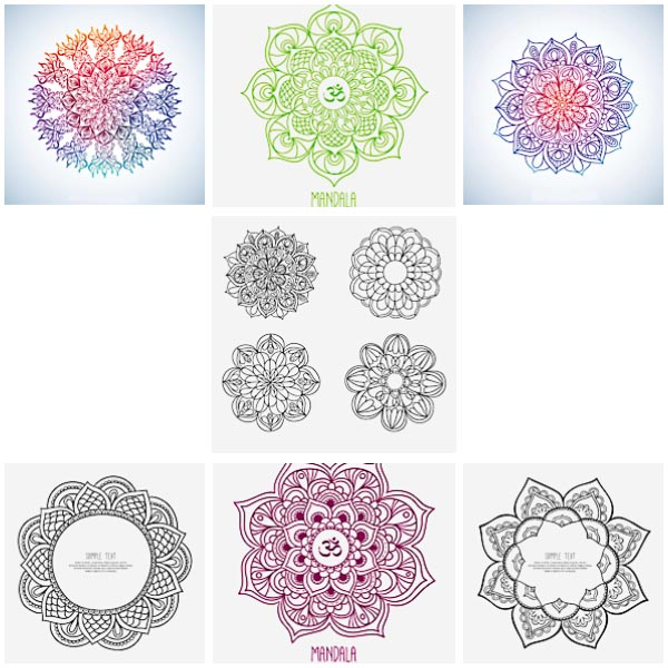 Colorful sketchy mandala collection set vector