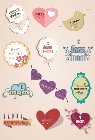 Mother's day elements with hearts and ribbons set vector