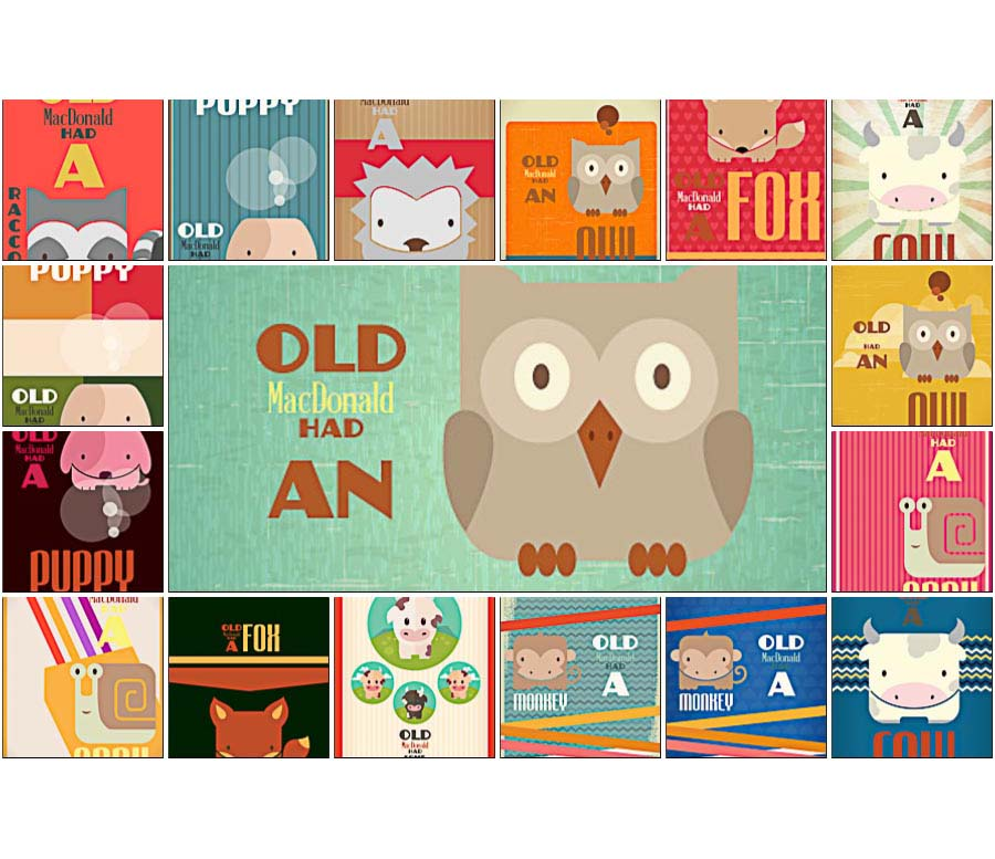 Cartoon animals and old MacDonald set vector