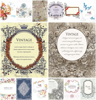 Vintage floral frame ornate set vector