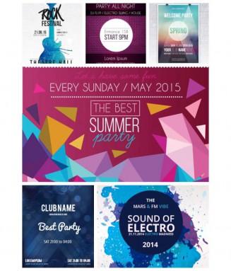 Music festival party poster print set vector