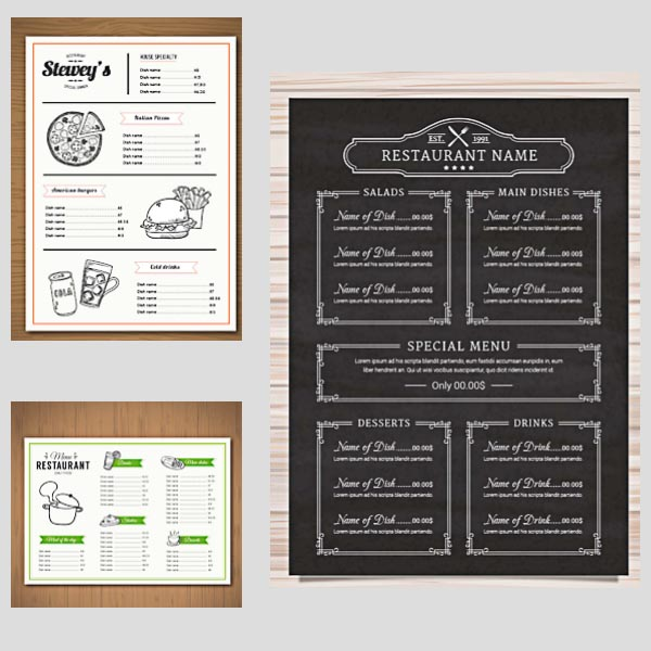 Restaurant menu vector templates – Free Food Menu Template