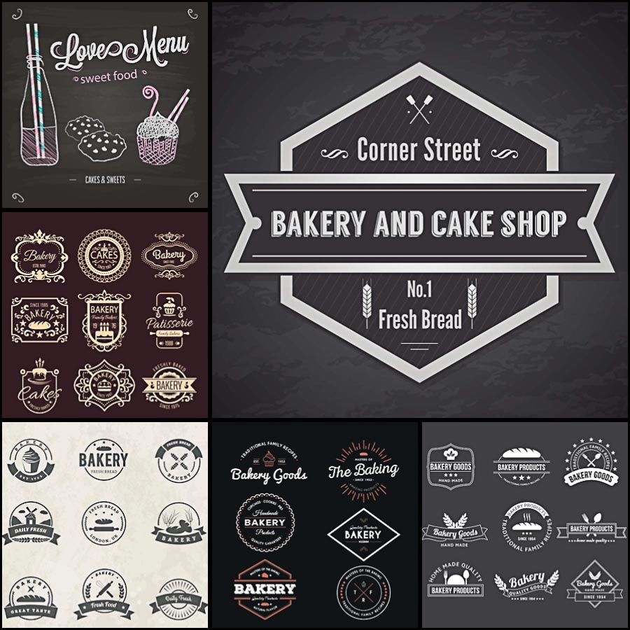 Bakery badges and logotypes cafe set vector