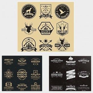 Hipster retro labels badges logotypes set vector
