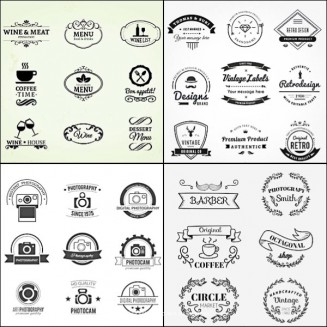 Retro logo shop cafe set vector