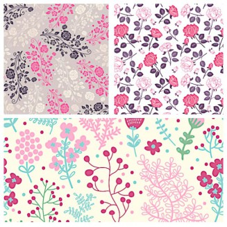 Floral seamless pattern roses set vector