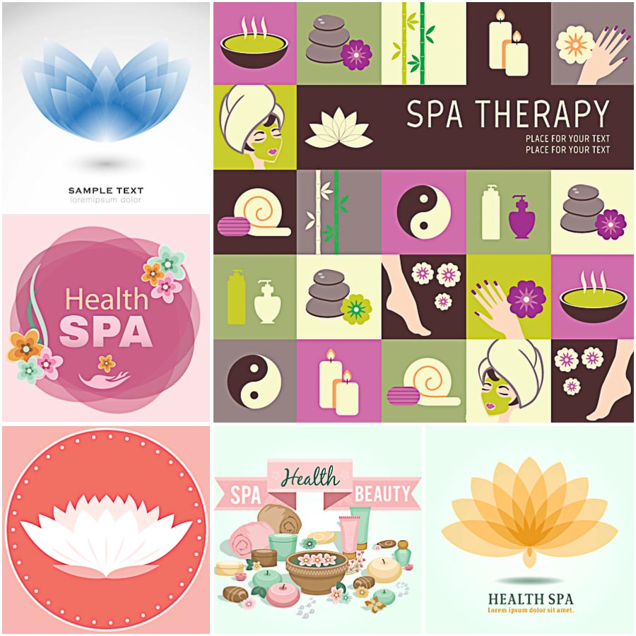 Spa beauty salon flower lotus set vector