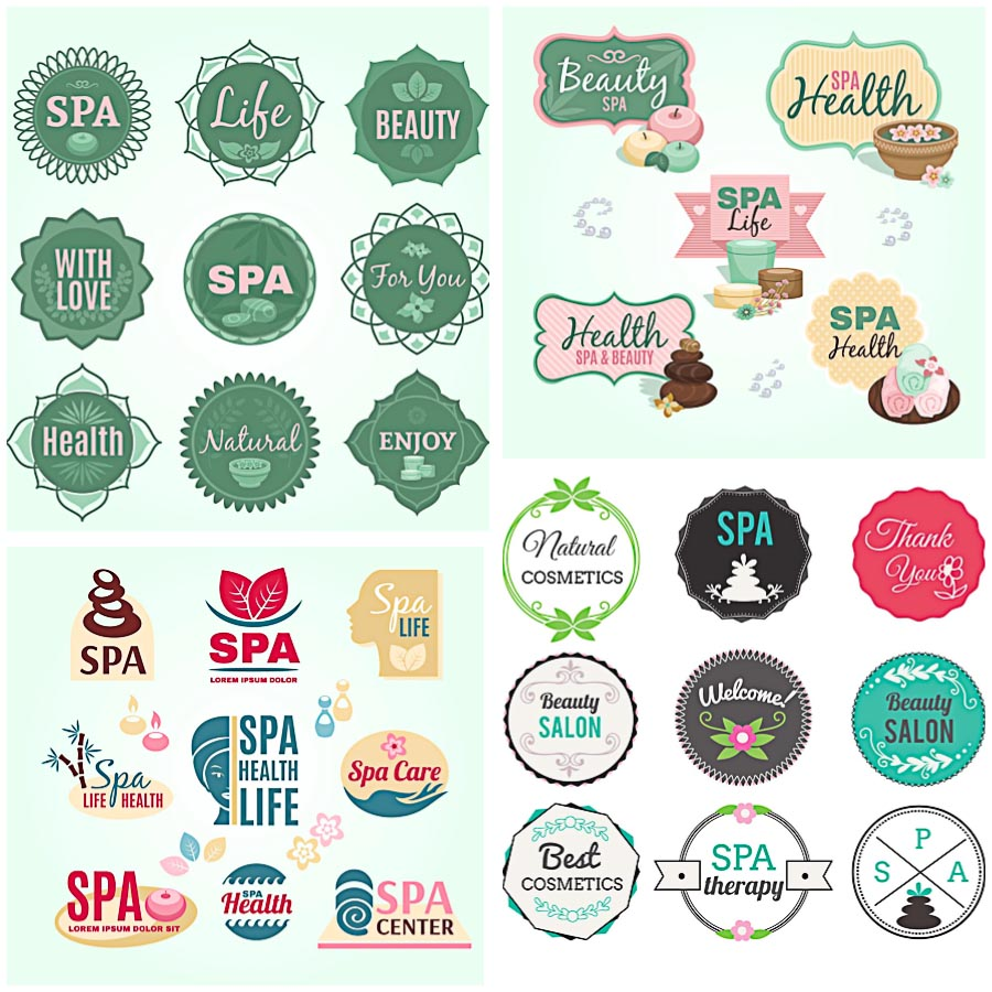 Spa beauty salon logo set vector