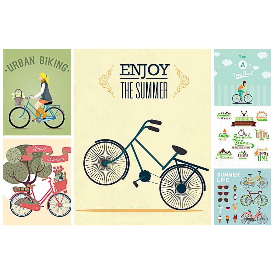Summer urban retro bike set vector