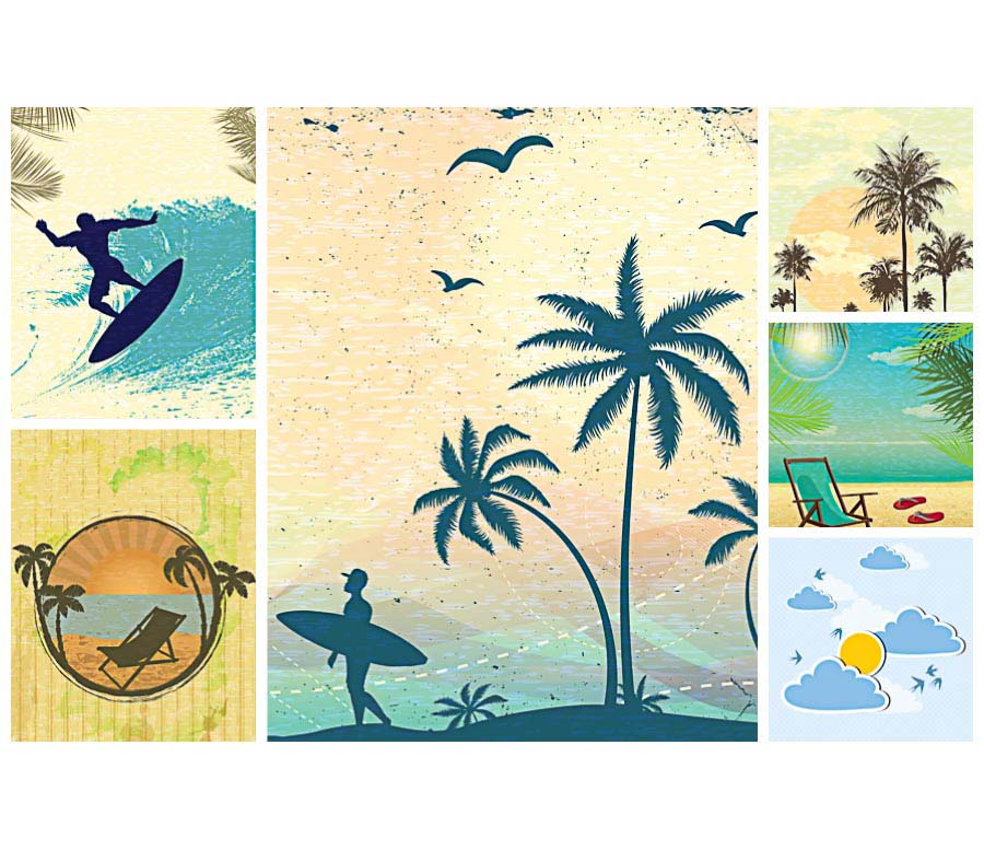 summer retro illustrations surfing set vector