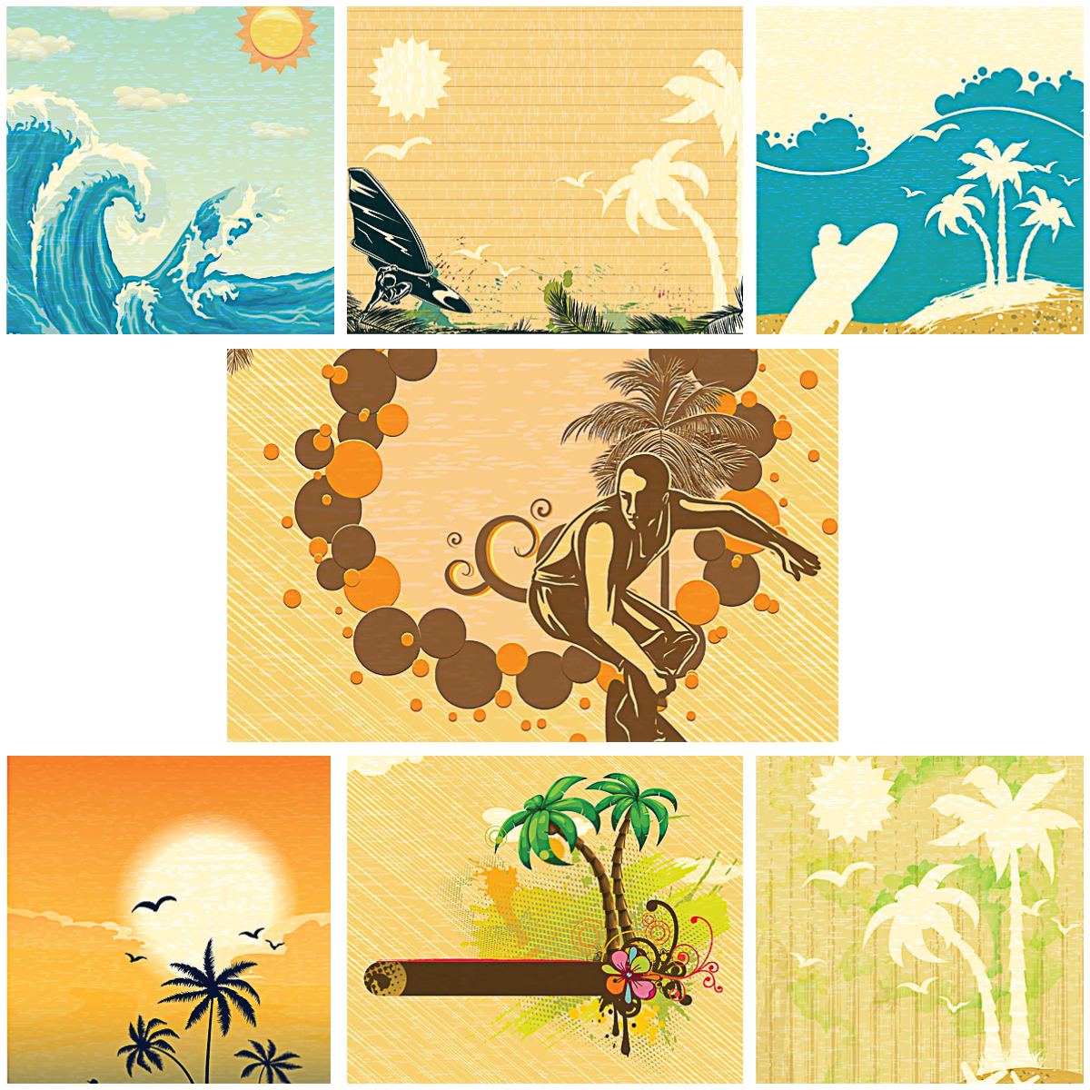 Retro summer illustrations with surf and palms set vector