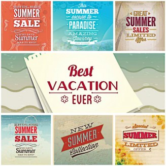 Summer paradise illustration set vector