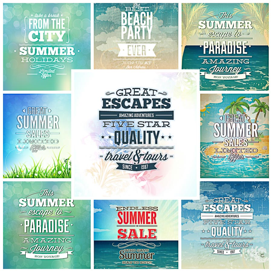Summer illustration typography card set vector