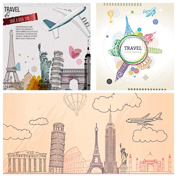 Sketchy travel template background set vector