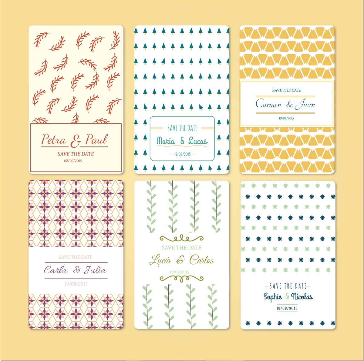 Wedding cards modern pattern set vector
