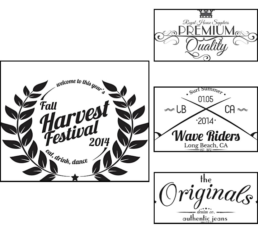 Retro logo laurel label set vector