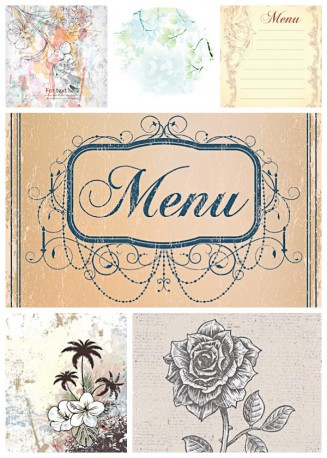 Floral ornaments and vintage menu set vector
