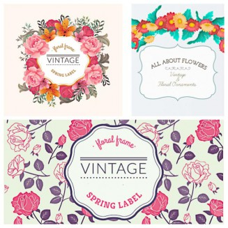 Spring label vintage frame flower peony set vector