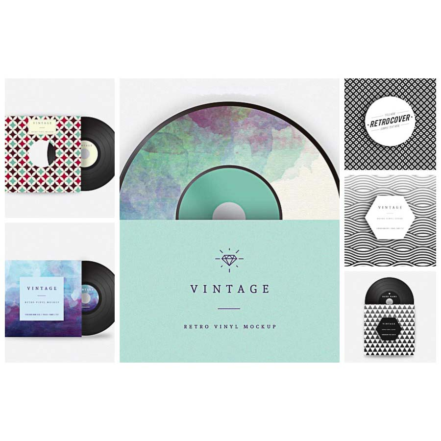 Retro vinyl geometric pattern cover set vector