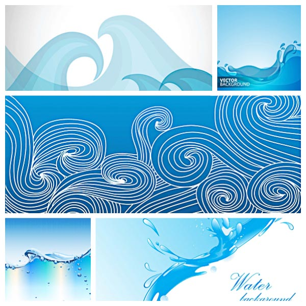 Water backgrounds drops and waves set vector
