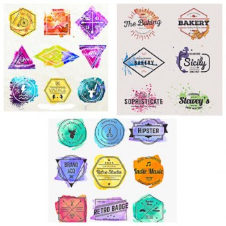 Watercolor hipster logotypes and badges set vector