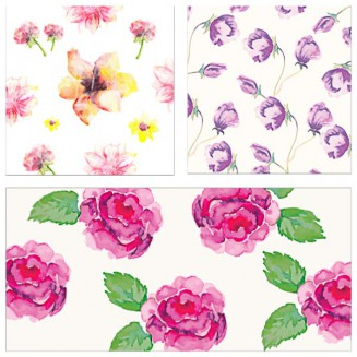 Floral pattern hand drawn watercolor set vector