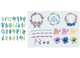 Watercolor painted leaves and flowers set vector