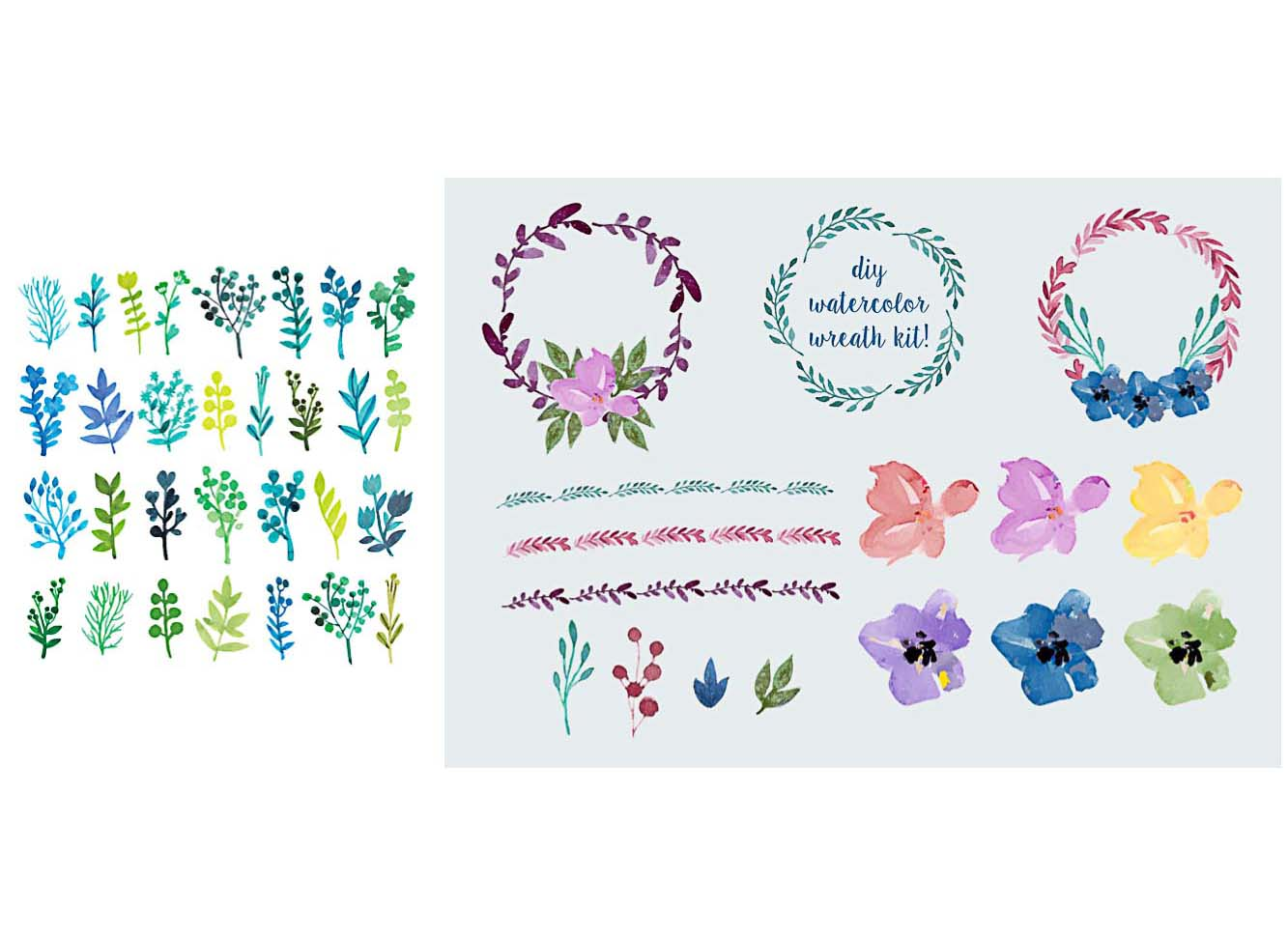 Design elements free download cgispread part 33 watercolor painted leaves flowers vector stopboris Choice Image