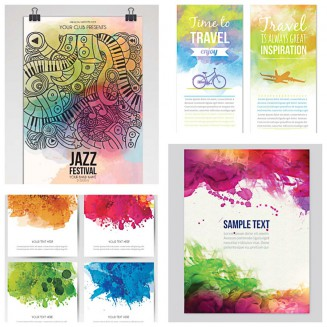 Music posters with watercolor prints set vector